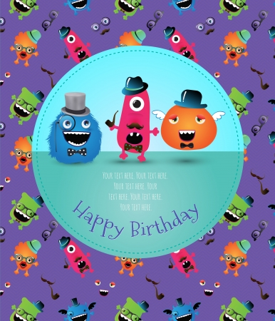 Hipster Monster Happy Birthday Card Illustration Stock Vector - 24205340