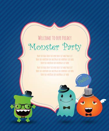 Monster Party Invitation Card Design Illustration Vector