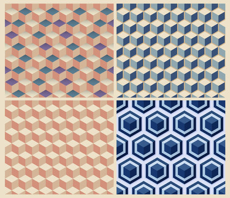 Seamless geometric cube background set. Patterns Vector Vector