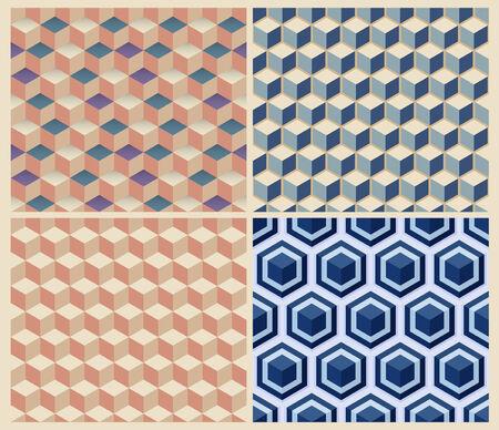 foursquare: Seamless geometric cube background set. Patterns Vector Illustration