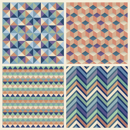 foursquare: Seamless geometric cube background set. Patterns Vector Illustration