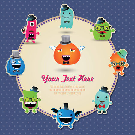 Hipster Monster Banner Card. Vector Illustration Vector