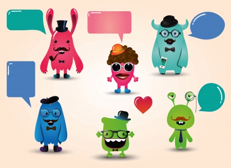 Vector Hipster Monsters Set with Speech Bubbles, Illustration Stock Vector - 24477345