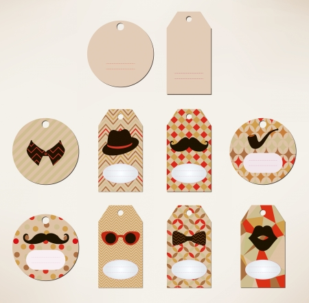 Vector Hipster price tags collection, geometric patterns