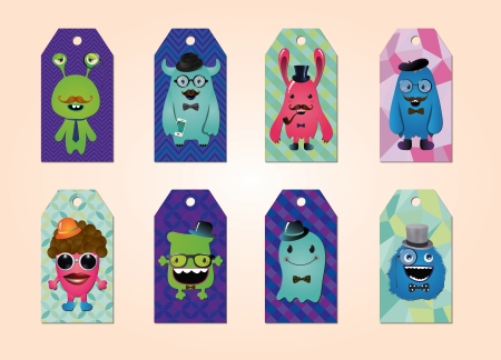 Tags collection with hipster monsters, geometric patterns Vector