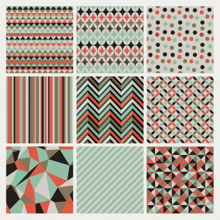 Seamless geometric hipster background set. Patterns Vector