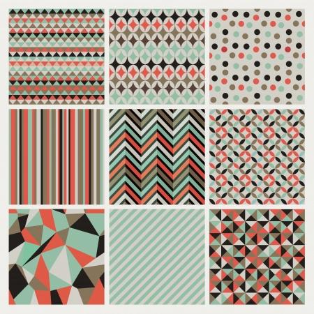 seamless geometric: Seamless pantaloni a vita bassa geometrica di sfondo impostato. Patterns Vector Vettoriali
