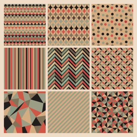 Seamless geometric retro background set. Patterns Vector Illustration