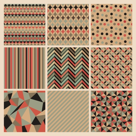 Seamless geometric retro background set. Patterns Vector 向量圖像