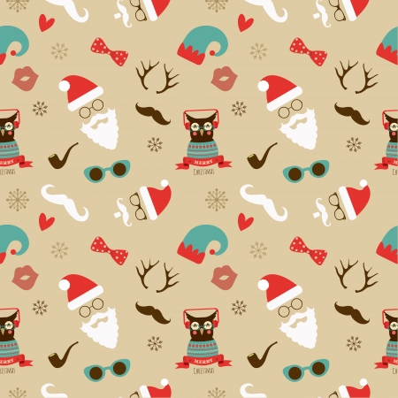 Vector Christmas Hipster Vintage Seamless Pattern, Background