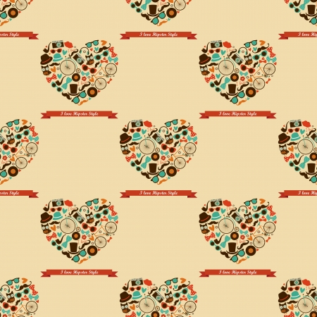 Vecto Hipster Love Colorful Seamless Pattern, Background Vector