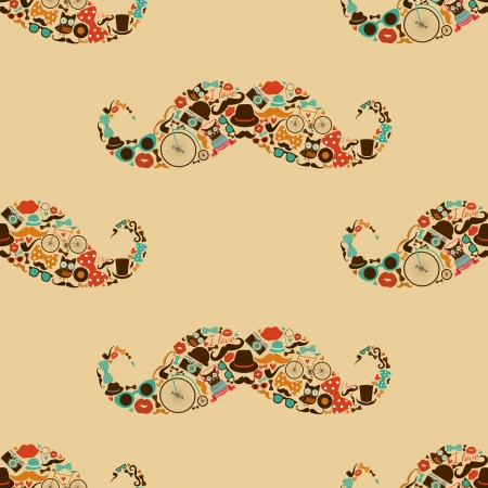 Vecto Hipster Mustache Colorful Seamless Pattern, Background  イラスト・ベクター素材