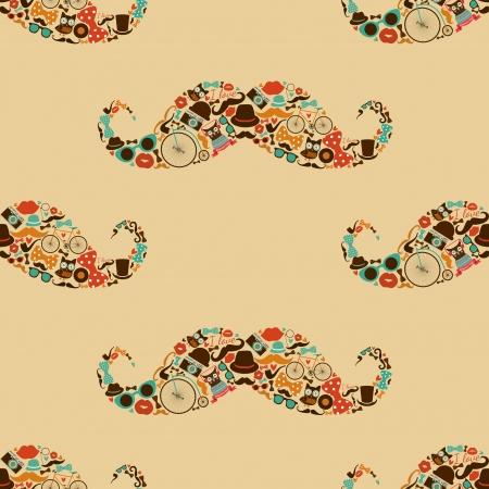 pattern sans soudure: Vecto Hipster Moustache Seamless color�, fond Illustration