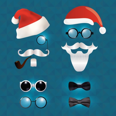 Santa Klaus fashion set hipster style, illustration icons Vector