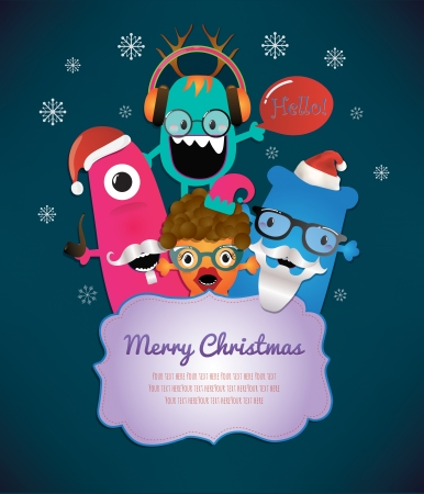 Monster Merry Christmas Card Design Illustration Vector