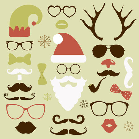 Christmas silhouette set hipster style, illustration icons Stock Photo