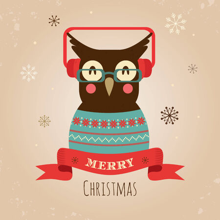 Illustration of Hipster Owl, Merry Christmas Card illustration
