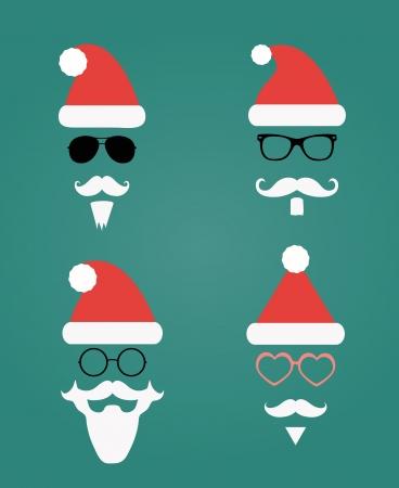 cartoon hat: Santa Klaus fashion silhouette hipster style, illustration icons Stock Photo