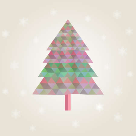 hristmas: Сhristmas tree with colorful triangle diamonds illustration