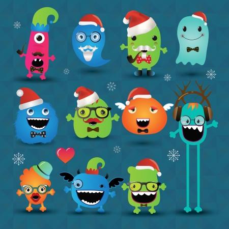 freaky: Christmas Freaky Hipster Monsters Set, Funny Illustration