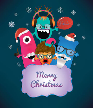 Monster Merry Christmas Card Design  Illustration illustration
