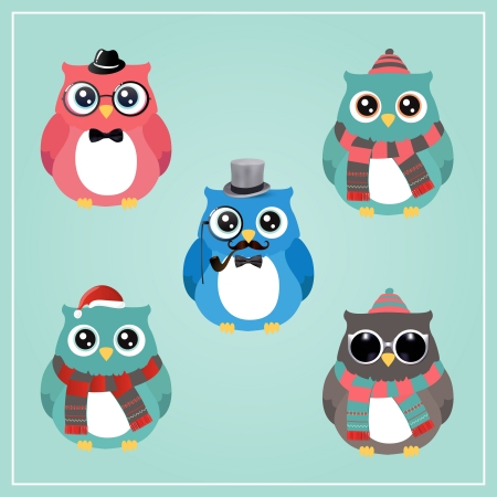 Cute Winter Christmas Hipster Owl Vector Illustration Vector