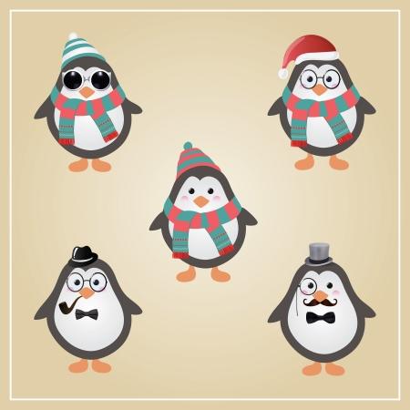 Cute Winter Christmas Hipster Penguins Vector Illustration