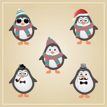 Cute Winter Christmas Hipster Penguins Vector Illustration