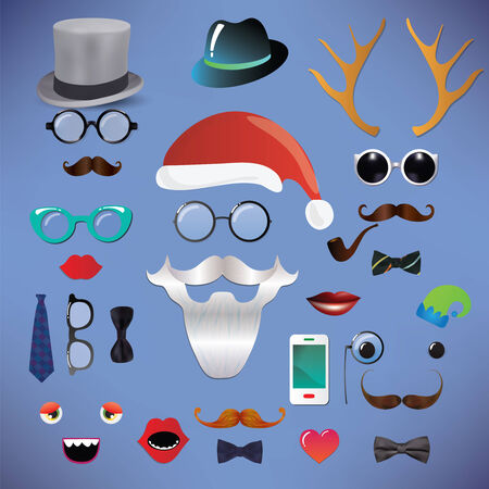 Christmas silhouette set hipster style, illustration icons Isolated illustration