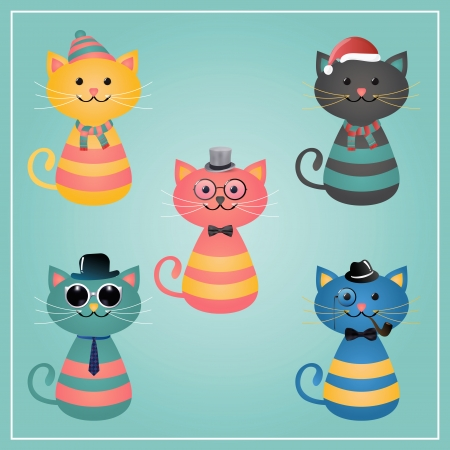 pussy: Cute Winter Funny Hipster Cats Vector Illustration