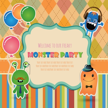 bash: Vector Hipster monster party invitation card design.