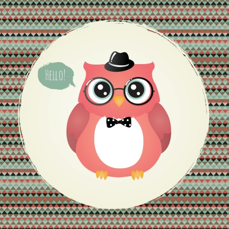 Vector Hipster Owl greeting card design illustration Vector