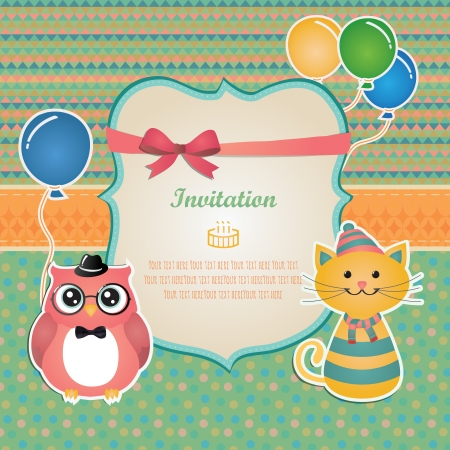 Vector Hipster Animals birthday party invitation card design. Vector