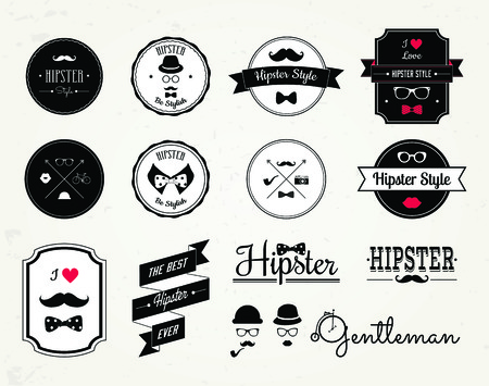 Hipster style elements, icons and labels. Vector Illustration Vector
