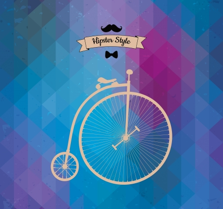 Hipster monocycle. Triangle background, vector illustration Vector