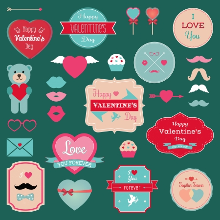 Valentines Day Badges, Icons, Labels Set. Vector Illustration. Hipster Mustaches, Lips. Teddy bear with heart. Grunge textured