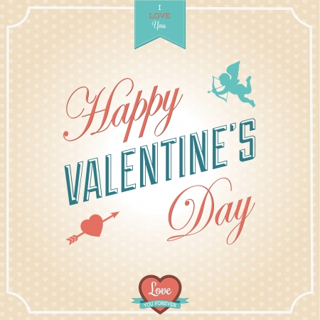 Happy Valentines Day Card - Typographical Background. Vector Illustrator. Calligraphic Greeting with Cupid and Heart