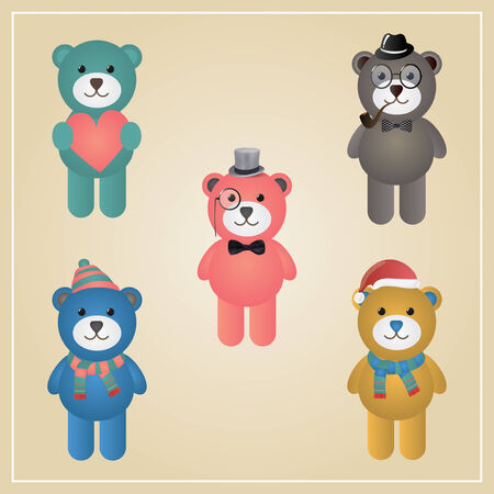 Cute Winter Funny Hipster Teddy Bear Vector Illustration, Isolated Vector