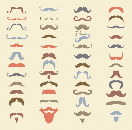 Colorful Hipster Moustache Icon Set. Vector Illustration, Mustaches big collection, variation, beard