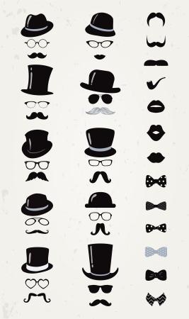 모자: 소식통 레트로 빈티지 벡터 아이콘 설정, 콧수염, 입술, 모자, 나비 넥타이와 안경 컬렉션