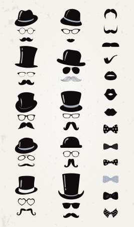 Hipster Retro Vintage Vector Icon Set, Mustache, Lips, Hats, Bow ties and Glasses Collection Çizim