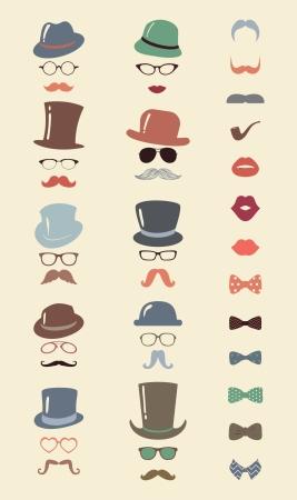 ヒップスター レトロ ビンテージ ベクトル アイコンを設定、口ひげ、唇、帽子、蝶ネクタイとカラフルなガラス コレクション