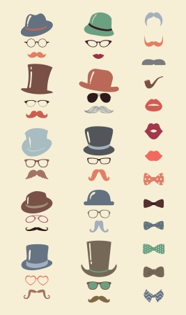 Hipster Retro Vintage Vector Icon Set, Mustache, Lips, Hats, Bow ties and Glasses Collection Colorful
