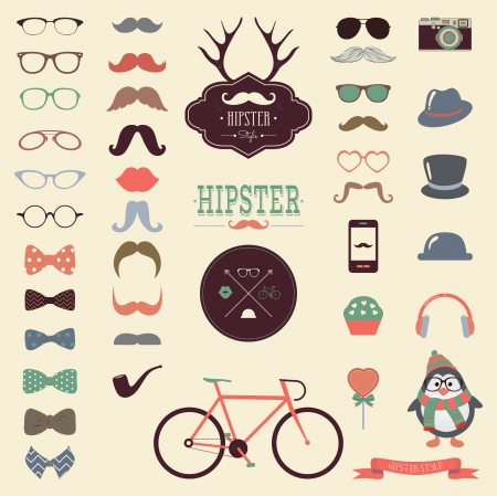 Hipster Colorful Retro Vintage Vector Icon Set, Mustaches, Hats, Badges, Labels, Bicycle Collection