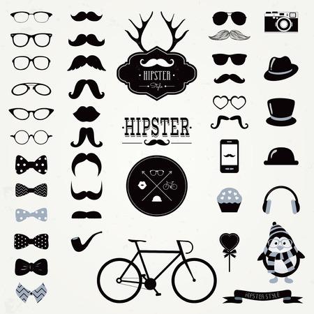 noeud papillon: Hipster noir et blanc Rétro Vintage Vector Icon Set, moustaches, chapeaux, badges, étiquettes, Collection de vélos Illustration