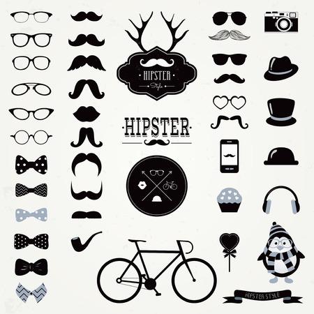 Hipster Black and White Retro Vintage Vector Icon Set, Mustaches, Hats, Badges, Labels, Bicycle Collection Illustration