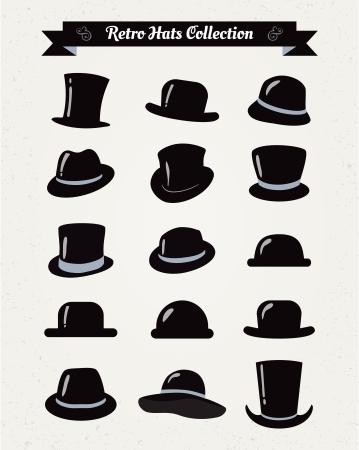 tall hat: Hipster Retro Hats Vintage Icon Set, Illustartion, Black Illustration