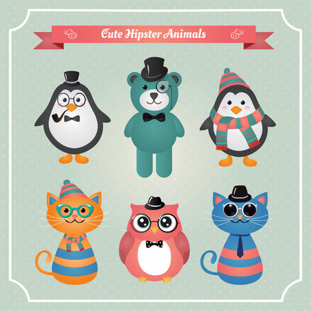 Cute fashion Hipster Animals & pets, set of vector icons, illustration Vector
