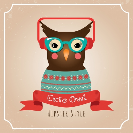 Vector Illustration of Hipster Owl, Greeting Card Design, Owl with Earphones, Card Background Template Vector