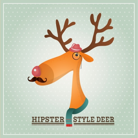 Vector Illustration Hipster Reindeer, Greeting Card Design Template, Background Vector